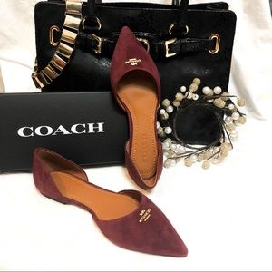 Coach Wine Suede Pointed Toe Flats